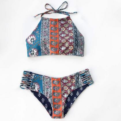 New Summer Sexy Print Two Pieces Sw..