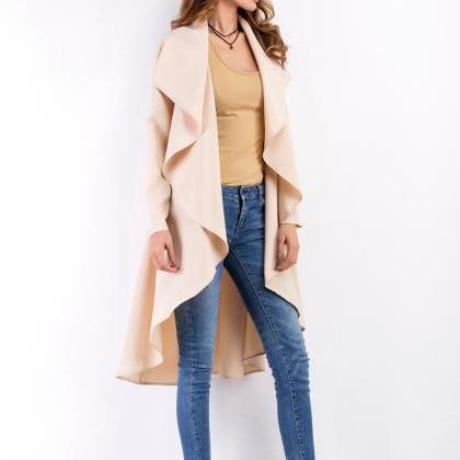 Lapel All-Match Irregular Cardigan ..