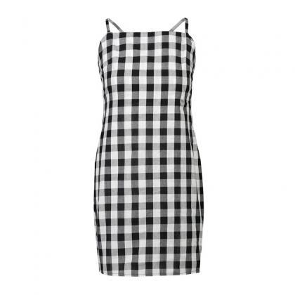 Black White Gingham Short Dress Fea..