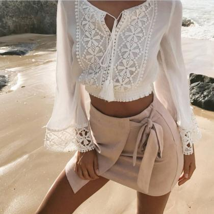 Fashion Sexy V-Neck Long Sleeve Lac..