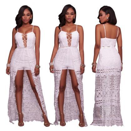 Spaghetti Straps Hollow Out Lace Ir..
