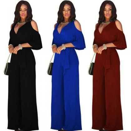 Pure Color V-neck Straps Wide-legs ..