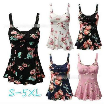 Square Straps Flower Print Sleevele..