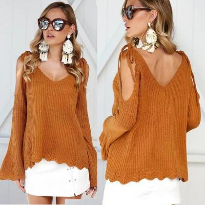 Bear Shoulder V-neck Solid Color Lo..