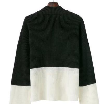 Colour Block Knitted Mock Neck Long..