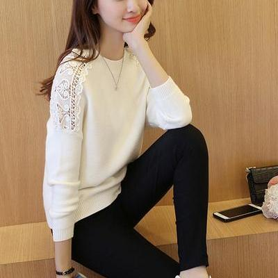Long Sleeves Pure Color Scoop Lace ..