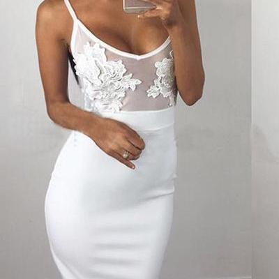 Spaghetti Straps Bodycon Lace Long ..