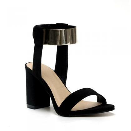 Metal Decorate Chunky Heel Peep-toe..
