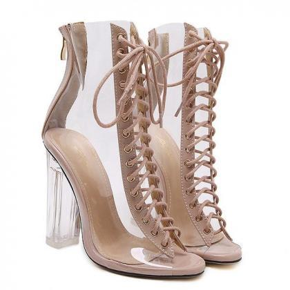 Transparent Lace Up Chunky Heel Poi..