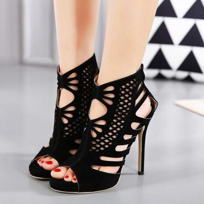 Suede Stiletto Heel Peep-toe Cut Ou..