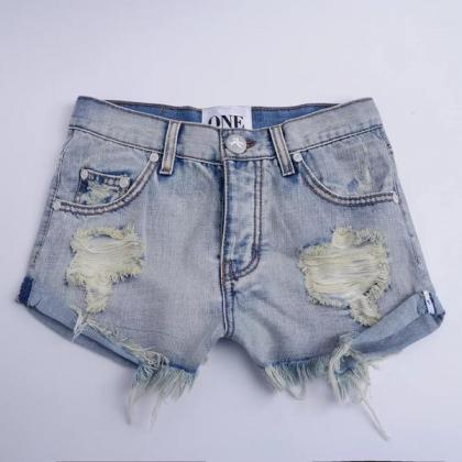 Pure Color Denim Low Waist Begger S..
