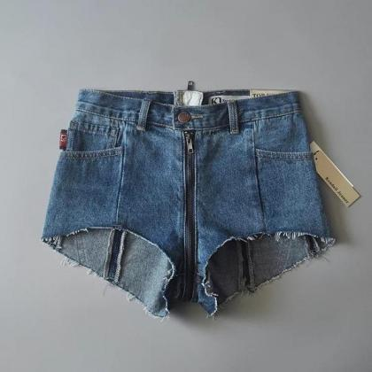 Patchwork Pure Color Denim Zipper S..
