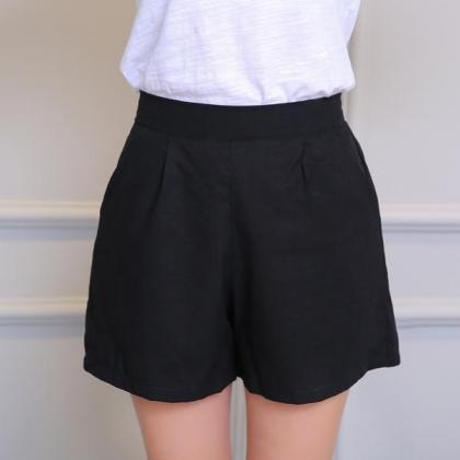 Pure Color High Waist Casual Loose ..