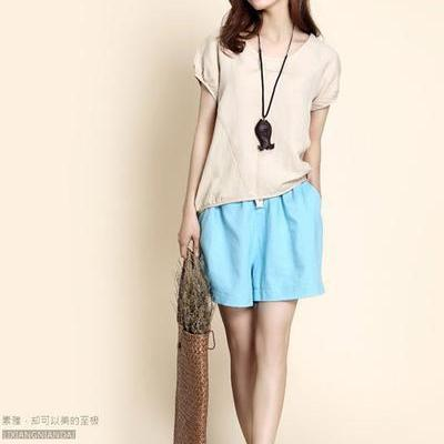 Casual Pure Color High Waist Loose ..