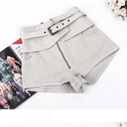 Pure Color High Waist Belt Slim Zip..