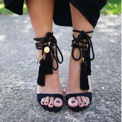 Stiletto Heel Peep-toe Lace Up Tass..