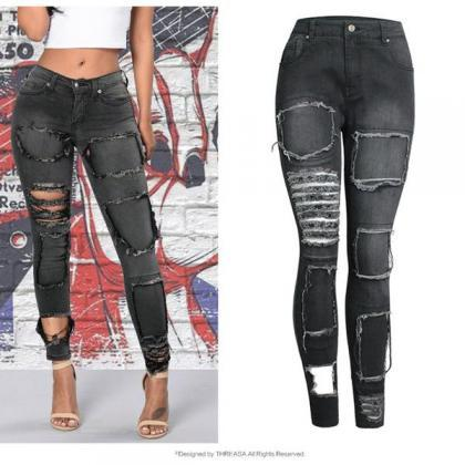 Cut Out Patchwork Low Waist Skinny ..