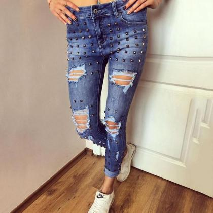 Low Waist Pure Color Rivets Holes S..