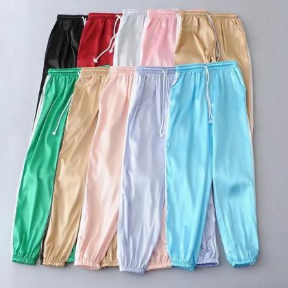 Pure Color Regular Waist Casual Yog..