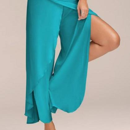 Low Waist Pure Color Irregular Spli..