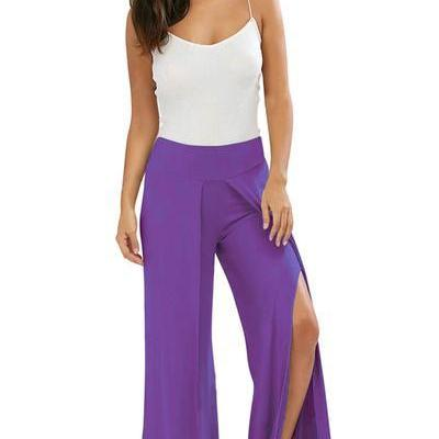 Pure Color Wide-leg Split Long Loos..