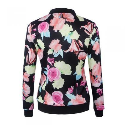 Flowers Print Stand Collar Patchwor..