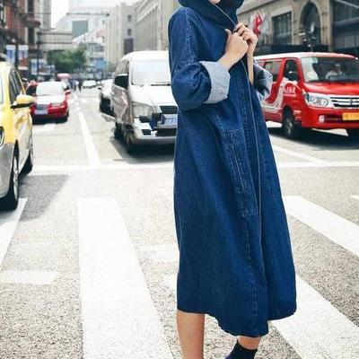 Loose Pure Color Hooded Long Over-k..
