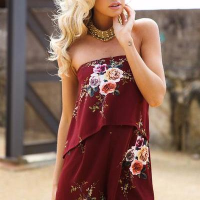 Floral Print Strapless Sleeveless S..