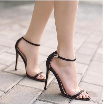 Open Toe Ankle Wraps Stiletto High ..