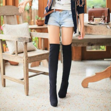 Solid Color Suede Slim Over-knee Lo..