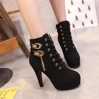 Pointed Toes Lace Up Side Zipper St..