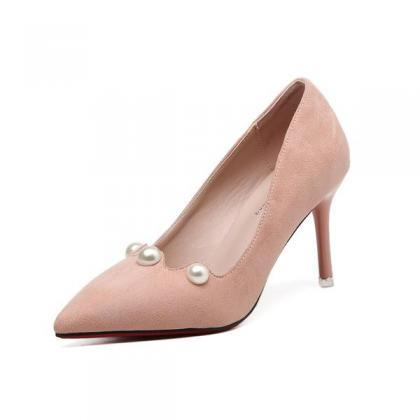 Pearl Embellished Faux Suede Pointe..