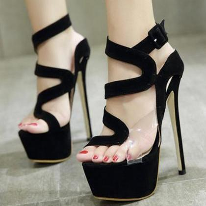 Straps Cut Out Open Toe Platform An..