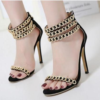 Metal Chain Decorate Open Toe Ankle..