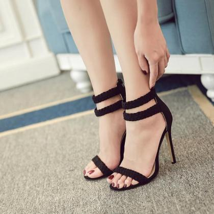 Weave Ankle Wrap Open Toe Stiletto ..