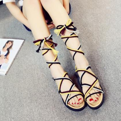Straps Wraps Lace Up Open Toe Flat ..