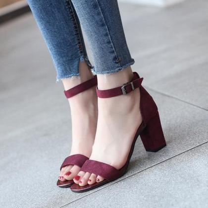Suede Open Toe Ankle Wrap Chunky Hi..