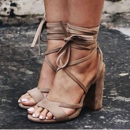 Suede Criss-Cross Lace-Up Chunky Hi..