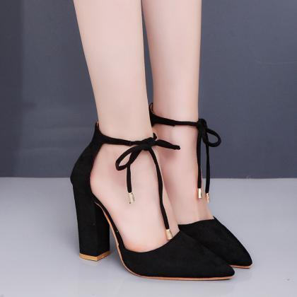 Pointed Tow High Chunky Heels Ankle..