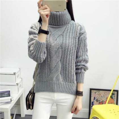 High Neck Candy Color Cable Knit Pu..