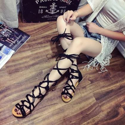 Roman Straps Cross Open Toe Back Zi..