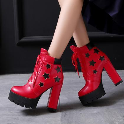 Star Decorate Platform Lace Up High..