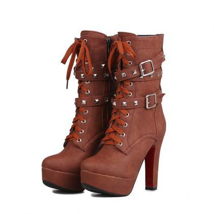Rivets Straps Lace Up Round Toe Pla..