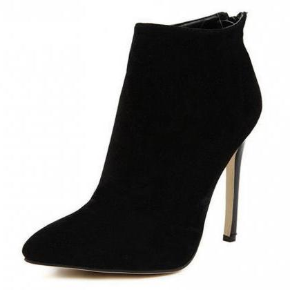 Faux Suede Pointed-Toe High Heel An..