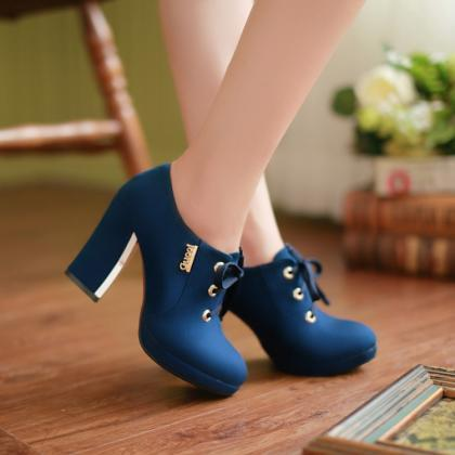 Solid Color Lace Up Round Toe Middl..