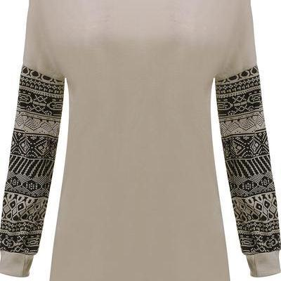 Scoop Print Patchwork Long Sleeves ..