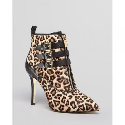 Leopard Pointed Toe Zipper Stiletto..