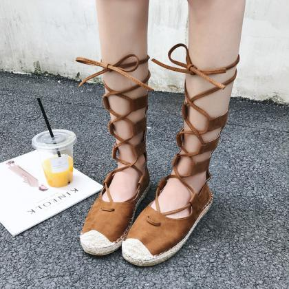 Round Top Lace Up Flat Short Boot F..