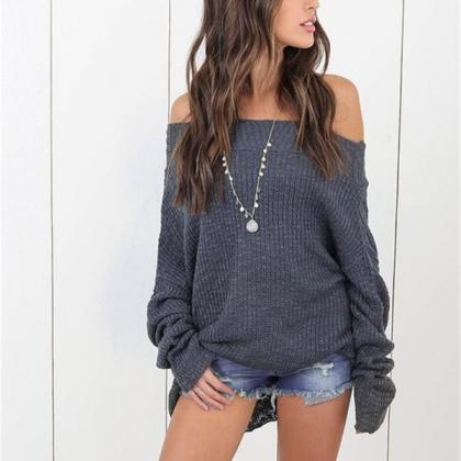 Boat Neckline Loose Long Sleeves Pu..