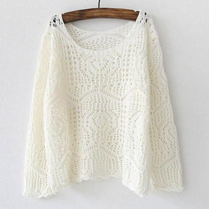Knit Hollow Out Thin Loose Pullover..
